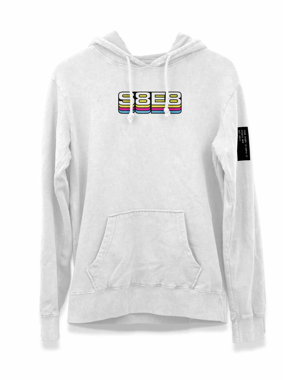 A white hoodie with S8E8 printed on it
