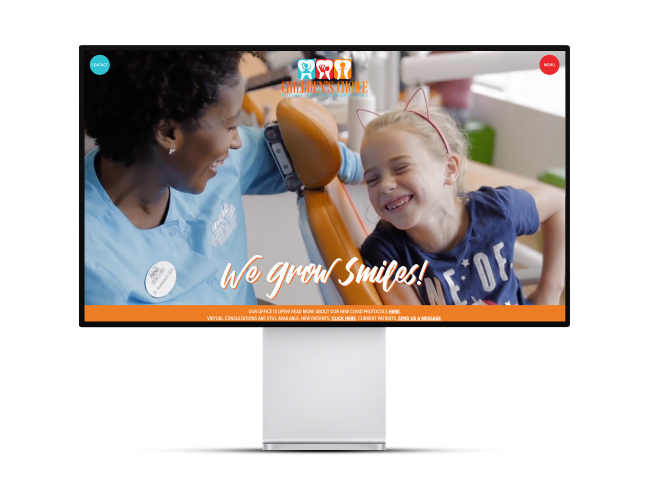 """Screenshot of the Children's Choice Pediatric Dentistry website showing a smiling dentist and young patient and the text """"We grow smiles!"""""""