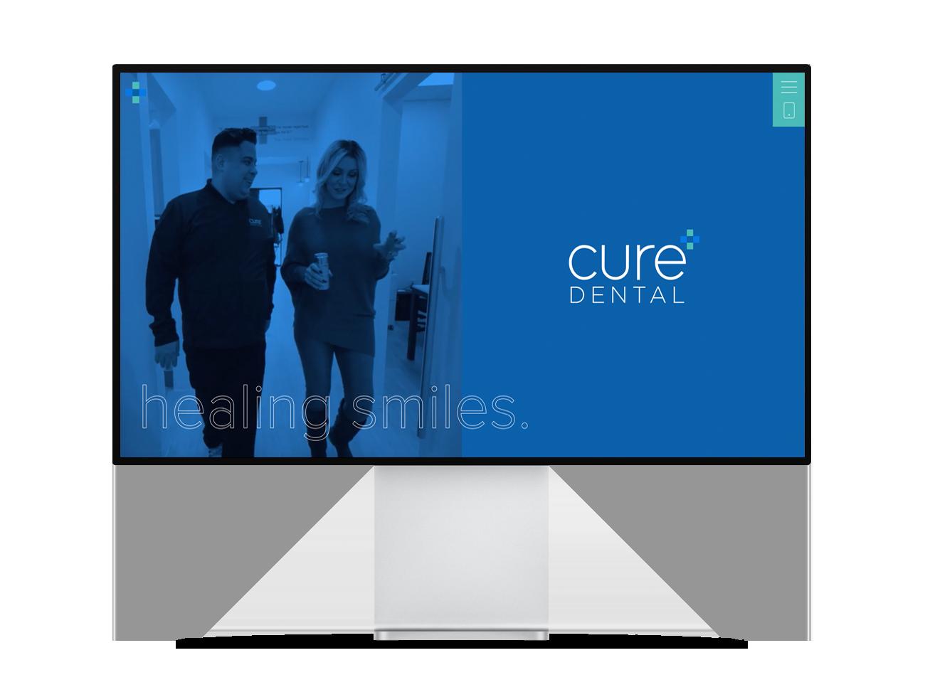Screenshot of the Cure Dental homepage