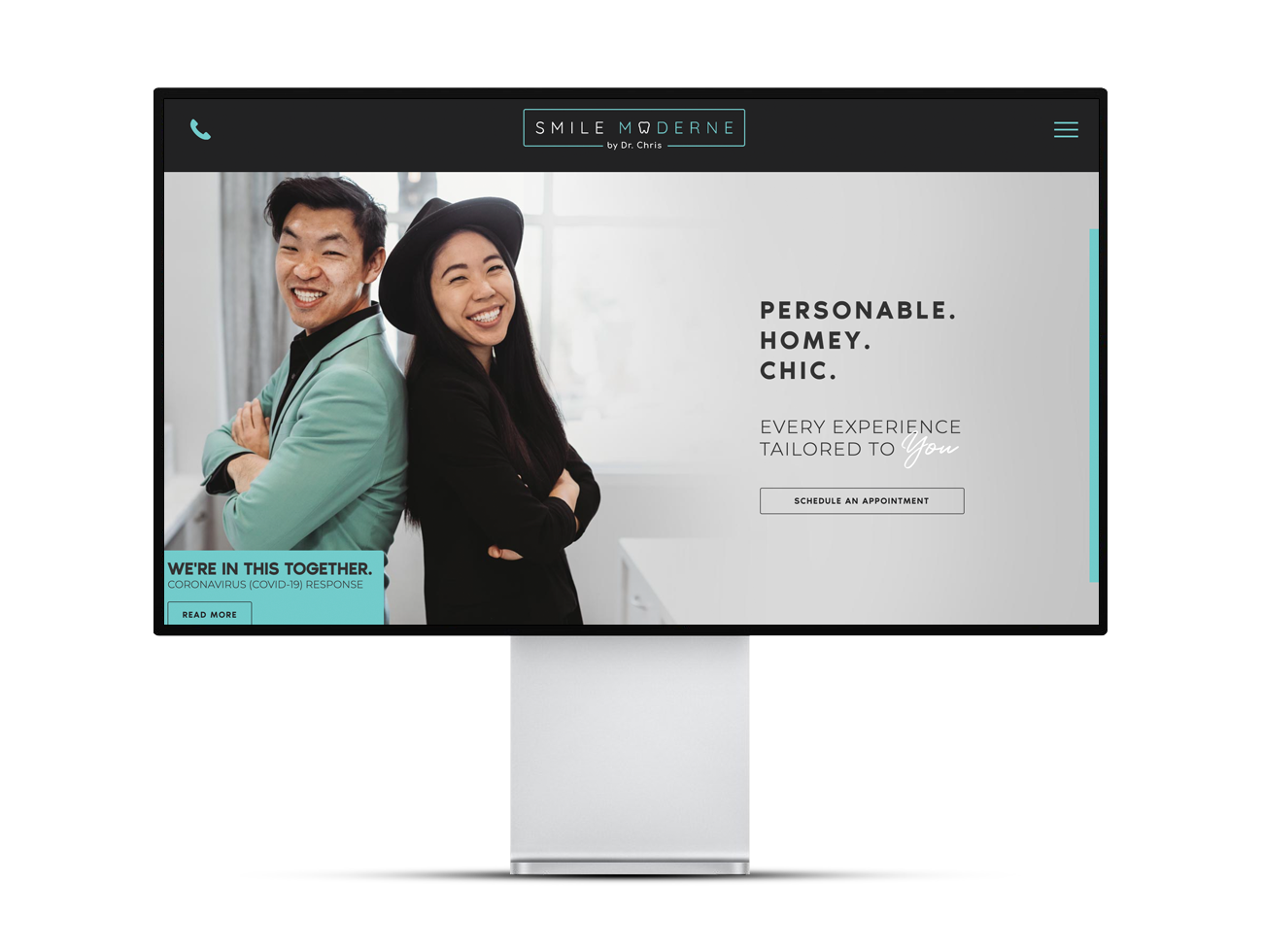 Screenshot of the Smile Moderne homepage