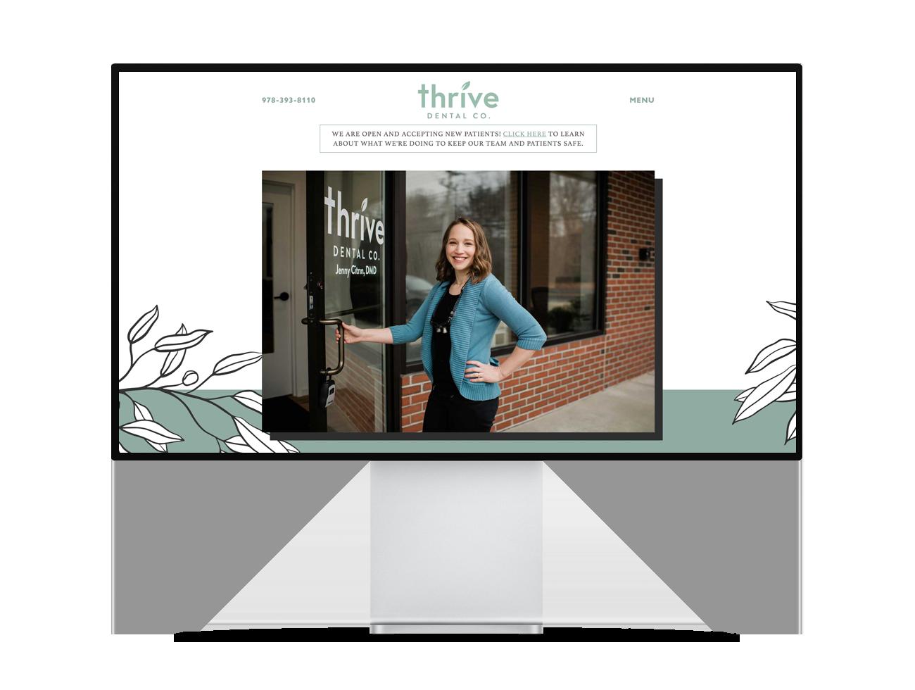 Screenshot of the Thrive Dental Co. homepage
