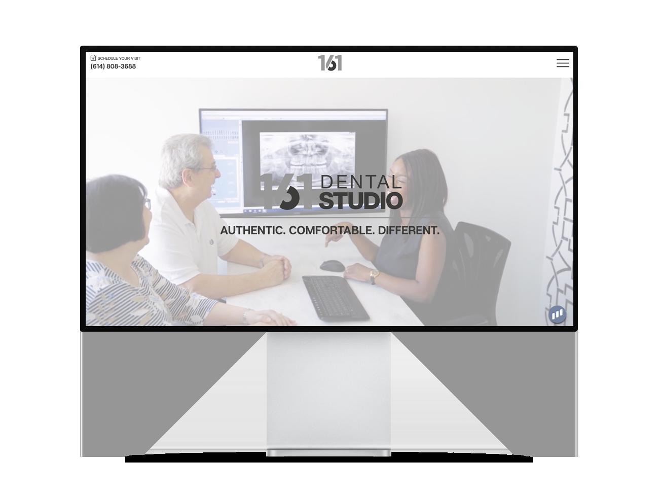 Screenshot of the 161 Dental Studio homepage
