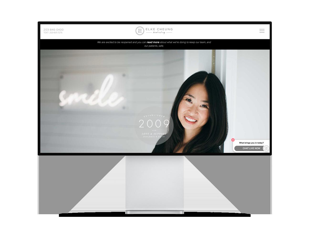 Screenshot of Elke Cheung Dentistry's website homepage