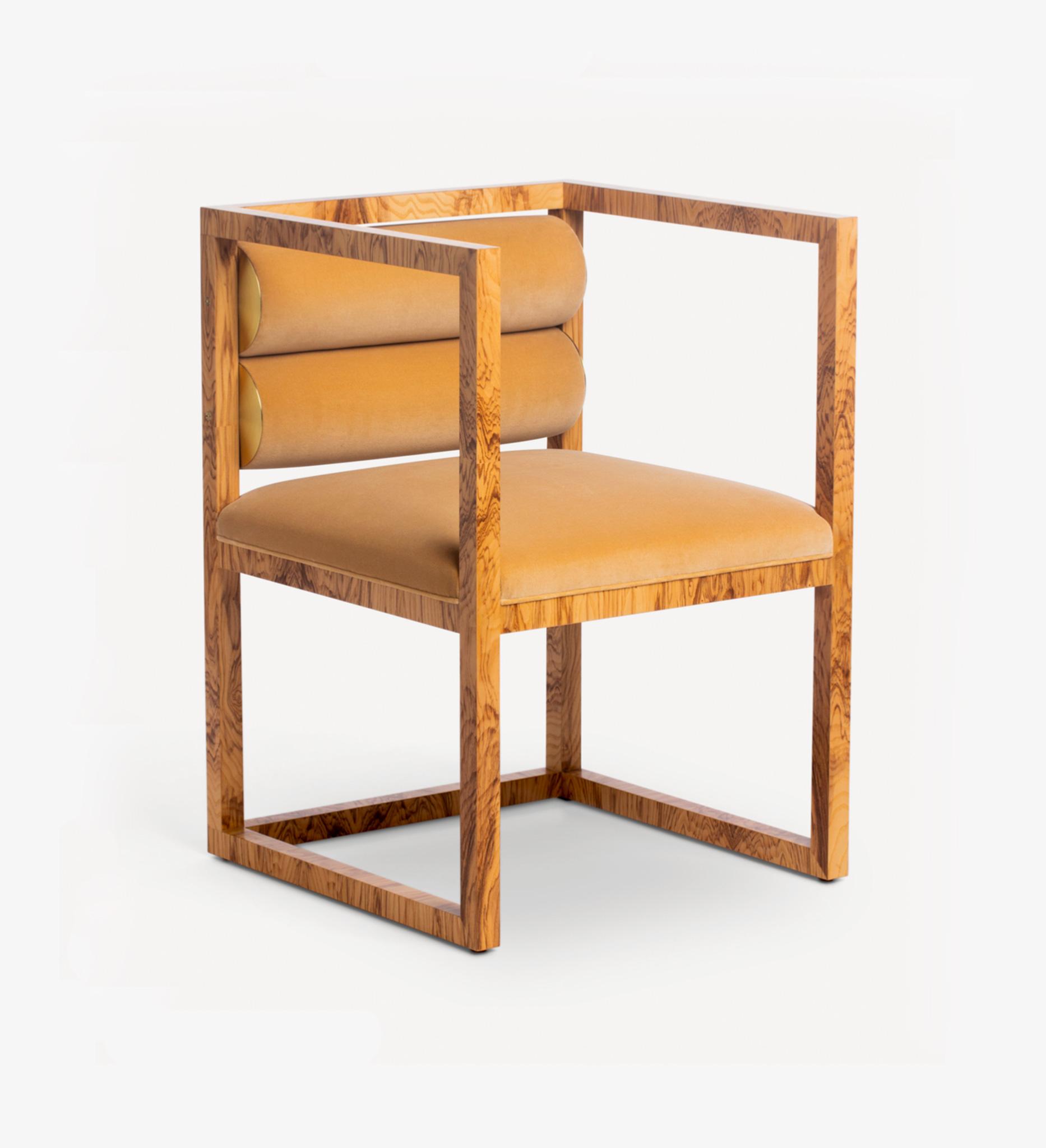 chair, wood, burl, brass, seating