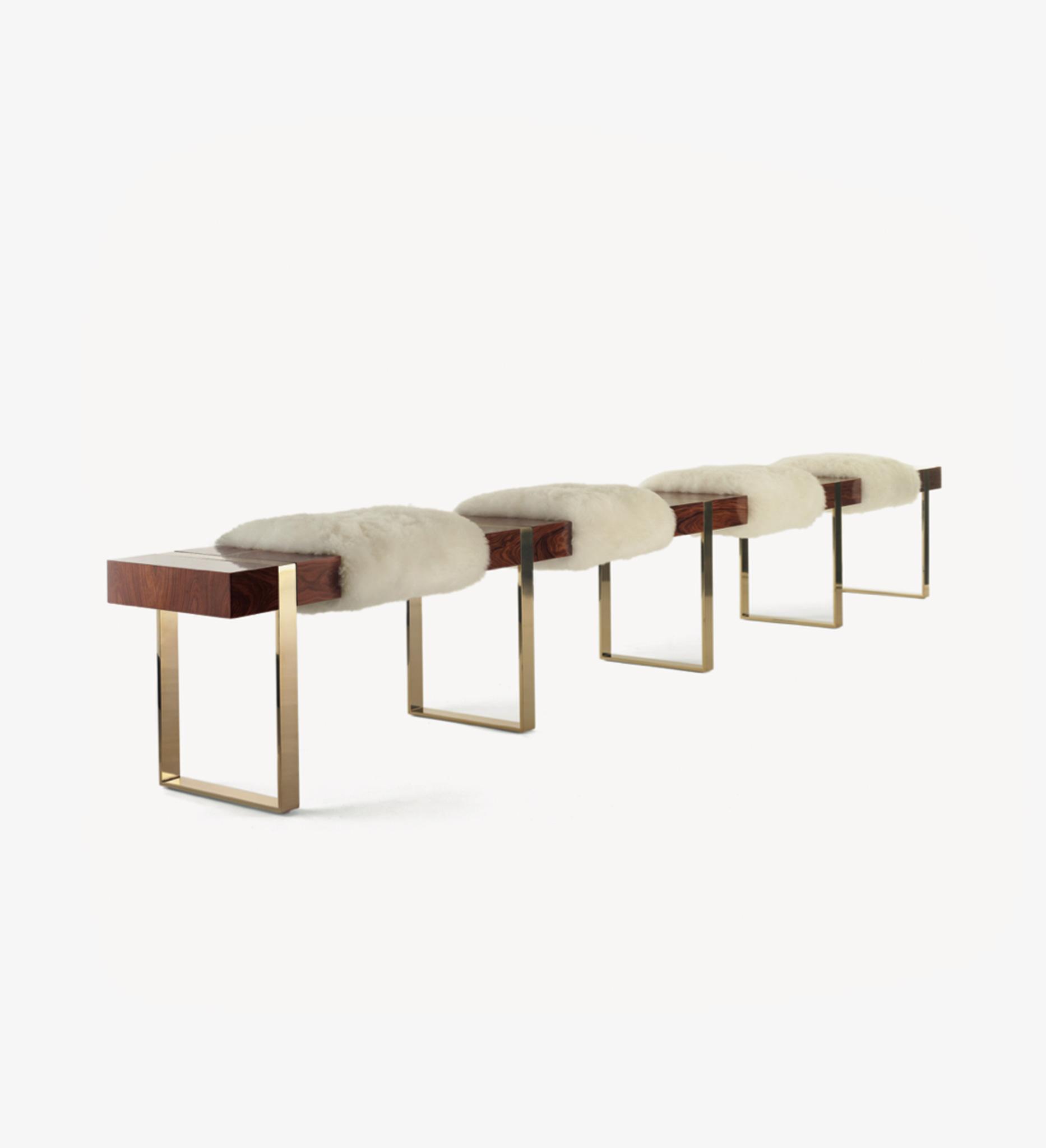 bench, shearling, wood, brass