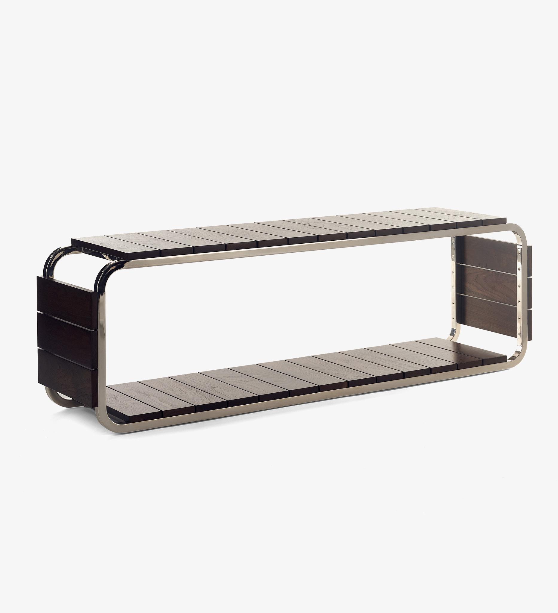 bench, table, Walnut, Sorrel, Steel, Polished Nickel, nickel, wood