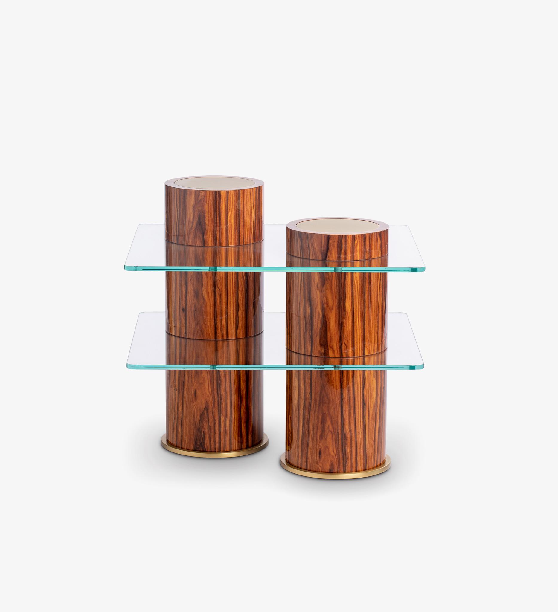 Brass, glass, rosewood, table, shelves, Henna, Satin Brass, wood, neutral, natural, Rivet