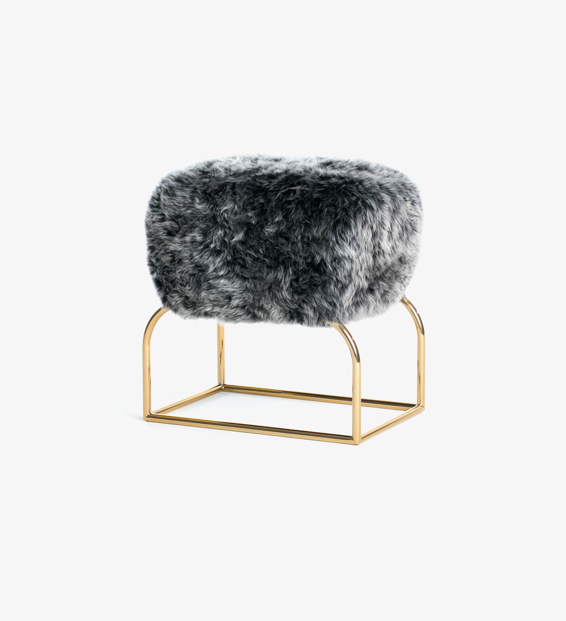 Stool, seating, bench, fur, diva, Long-Haired Patagonian Sheepskin, pepper, gray, grey, Polished Brass, brass