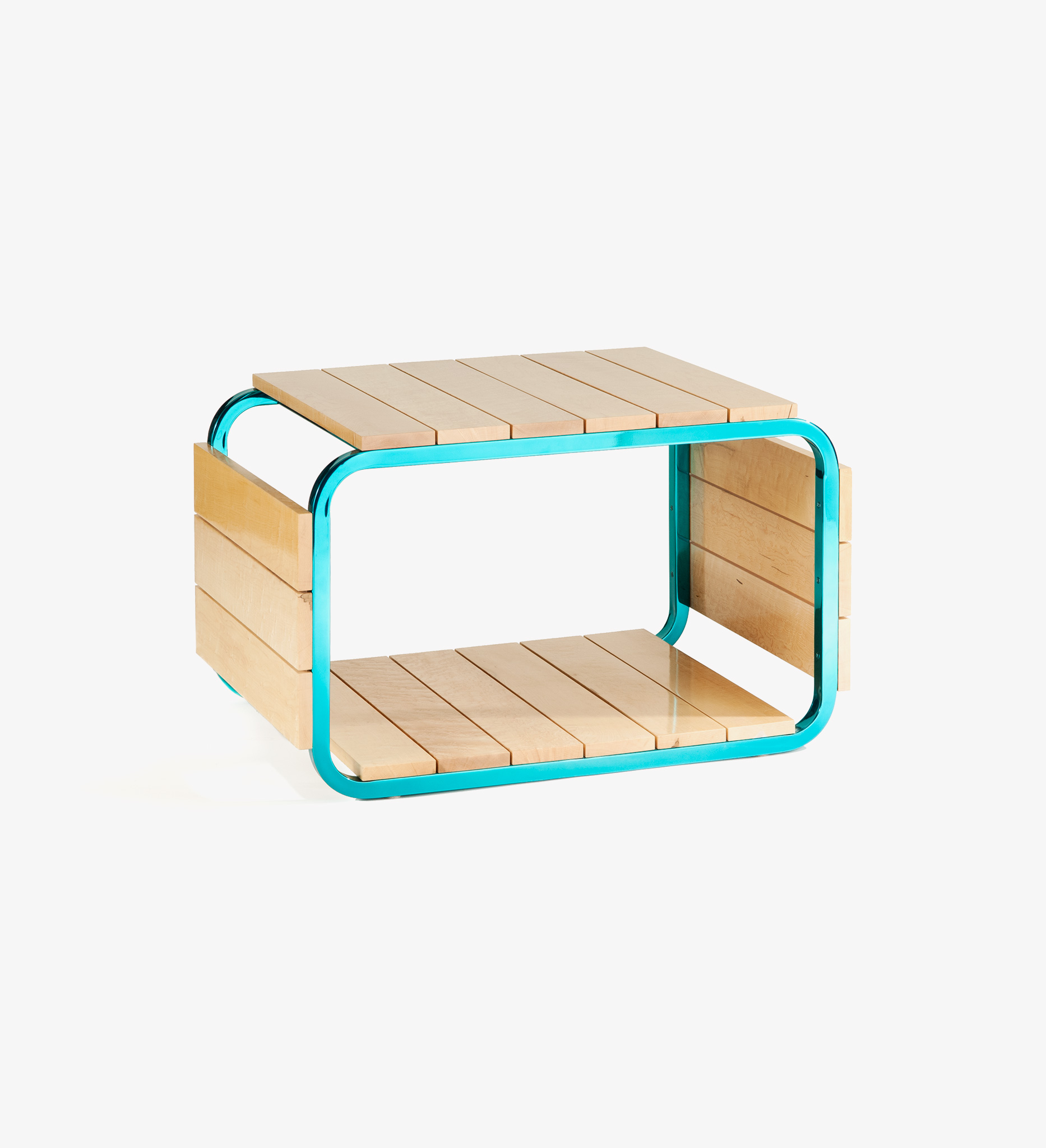 table, bench, Maple, Honey, Steel, Peacock, blue, green, aqua, wood, ladera