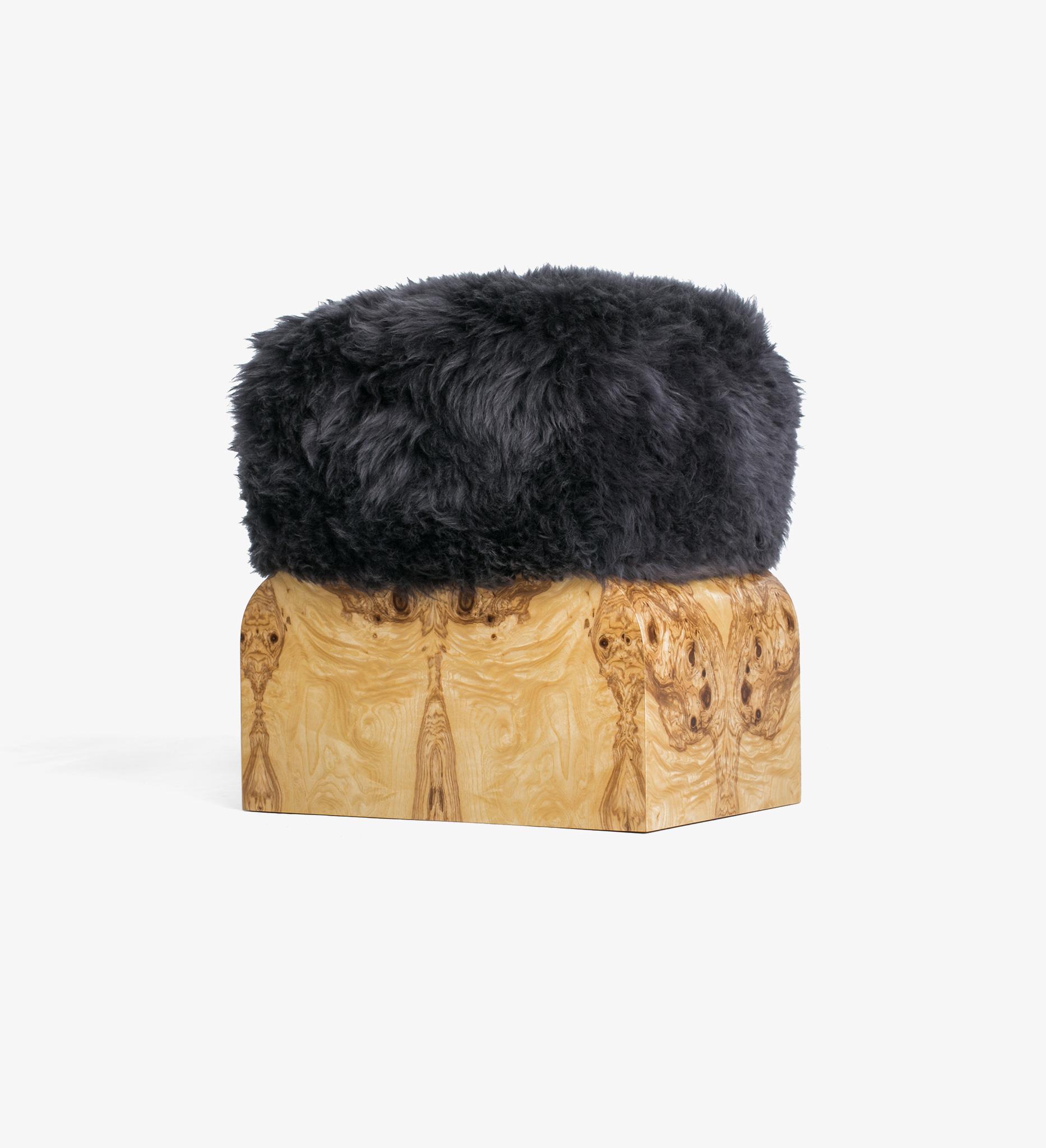 stool, bench, fur, diva, Patagonian Sheepskin,Gunmetal, Olive Ash Burl, Hazel, burl, wood, natural, neutral
