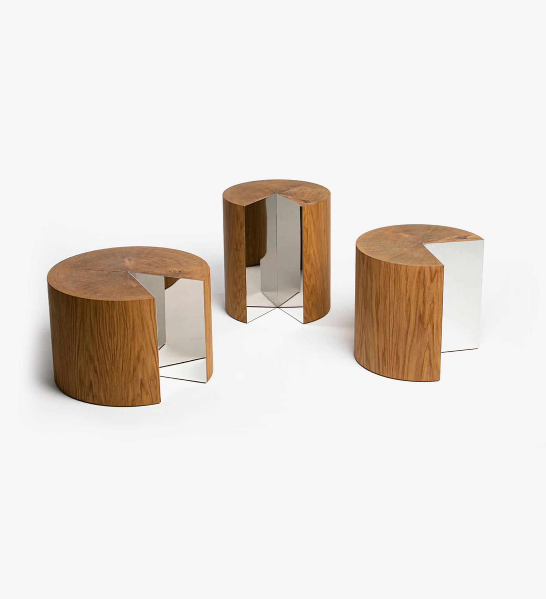 table, bench, stool, oak, steel, functional art, sculpture