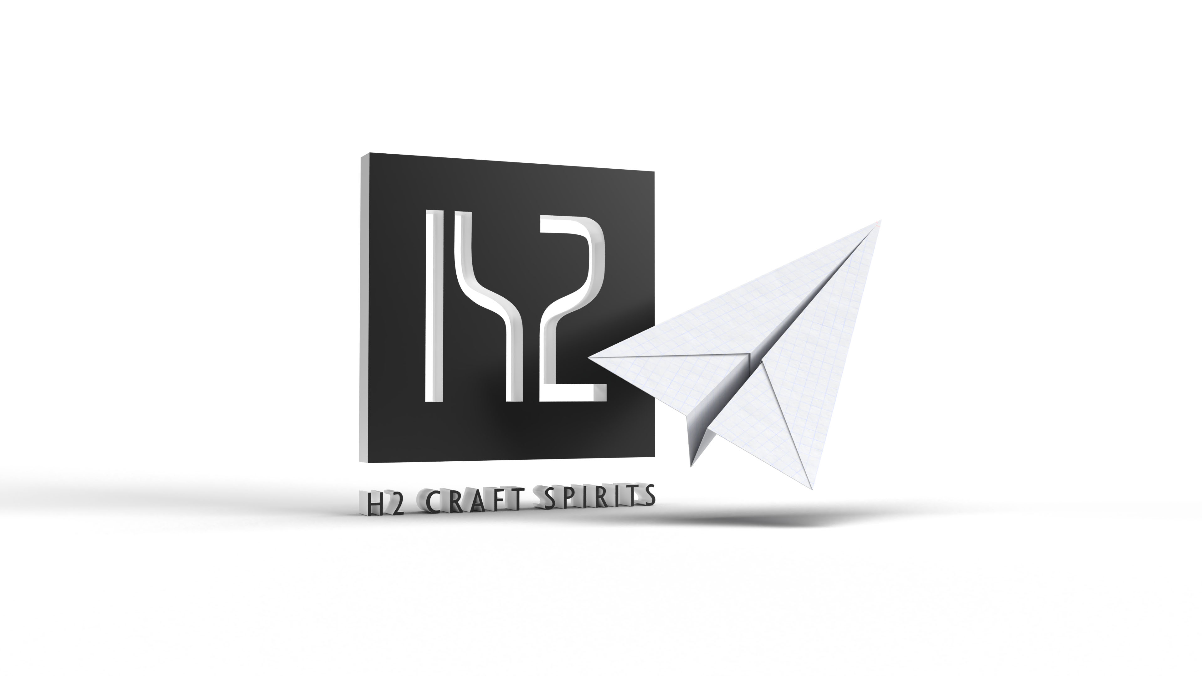 H2 Craft Spirits Logo and a Paper Airplane