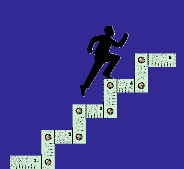 An illustration of a man running up stairs labeled 1 through 5