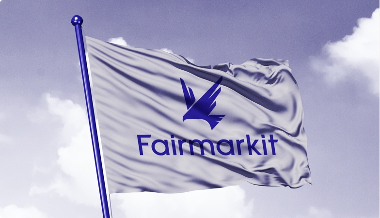 Fairmarkit flag flying in the wind