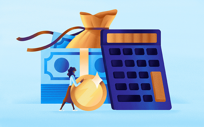 A woman rolls a coin towards a calculator.