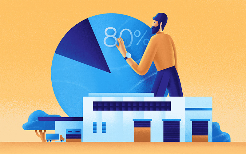 A man stands in front of a pie chart.