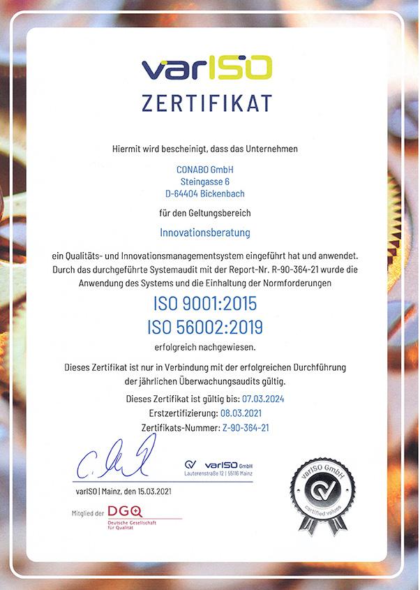 ISO-Zertifikat 9001 und 56002