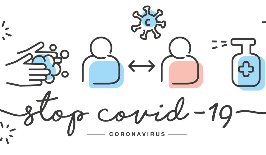 illustration with stop COVID and handwashing