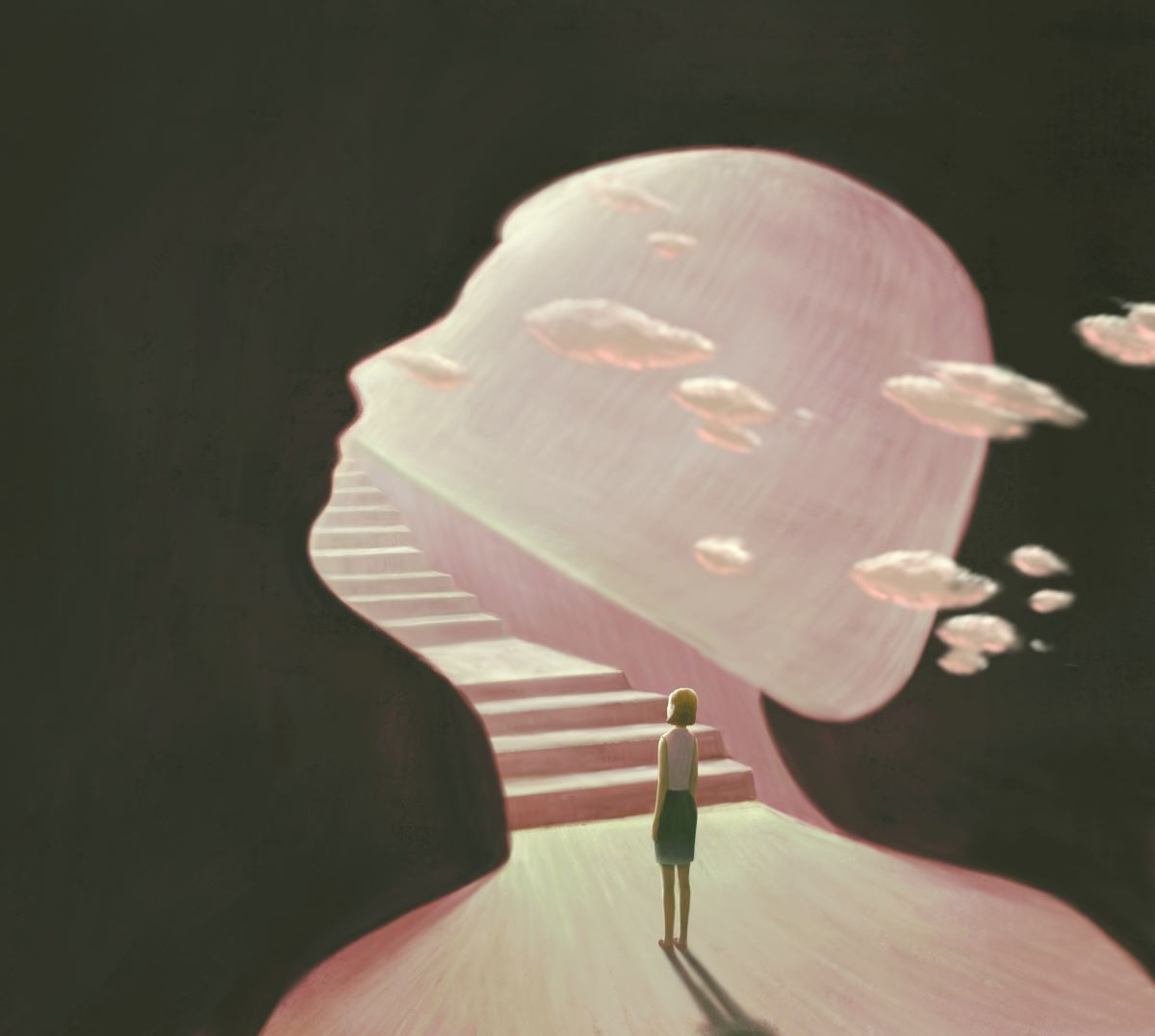 Female walking up a staircase into the clouds