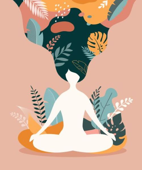 Illustration of female silhouette sitting in lotus position