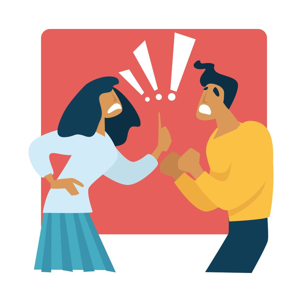 Illustration of male and female arguing