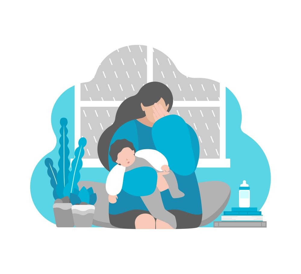 Illustration of mom holding baby while crying