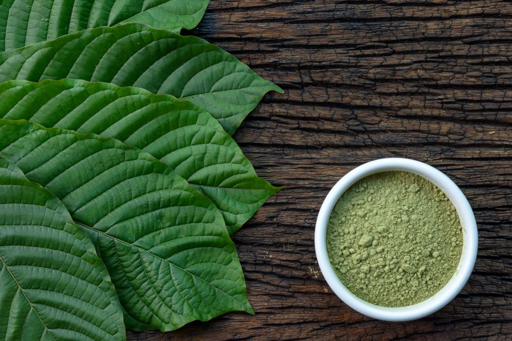 Kratom leaves with powder product in white ceramic bowl and wooden table background, top view