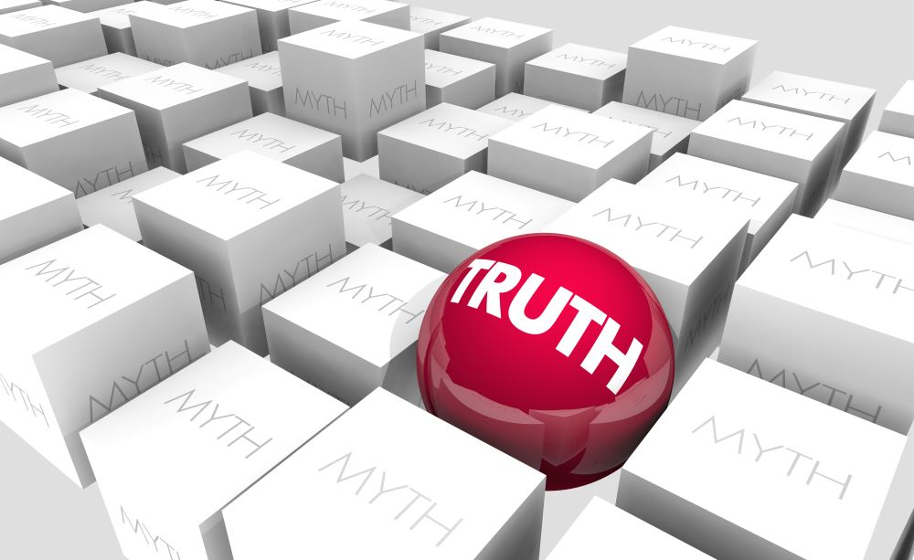 """Sphere with the word """"truth"""" among numerous cubes with the word """"myth"""""""