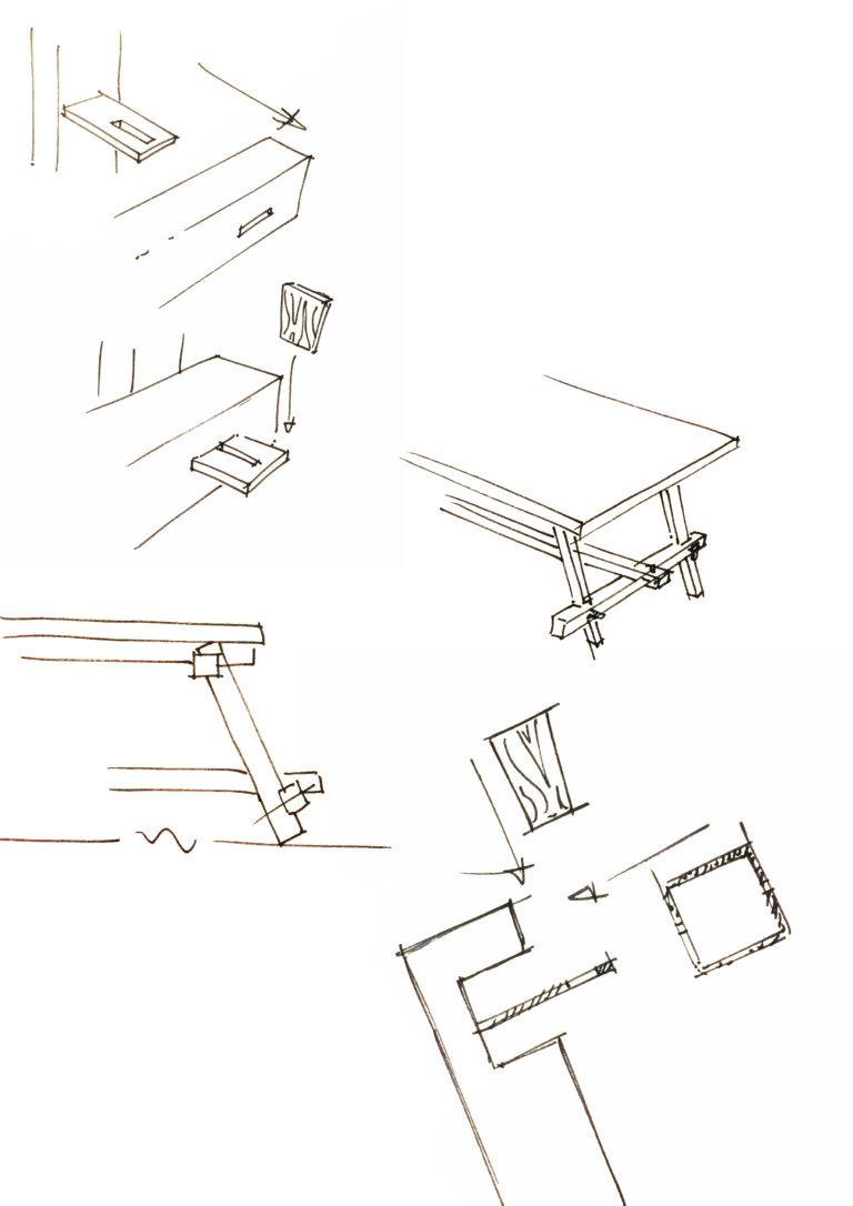 schetstekening van houten tafel