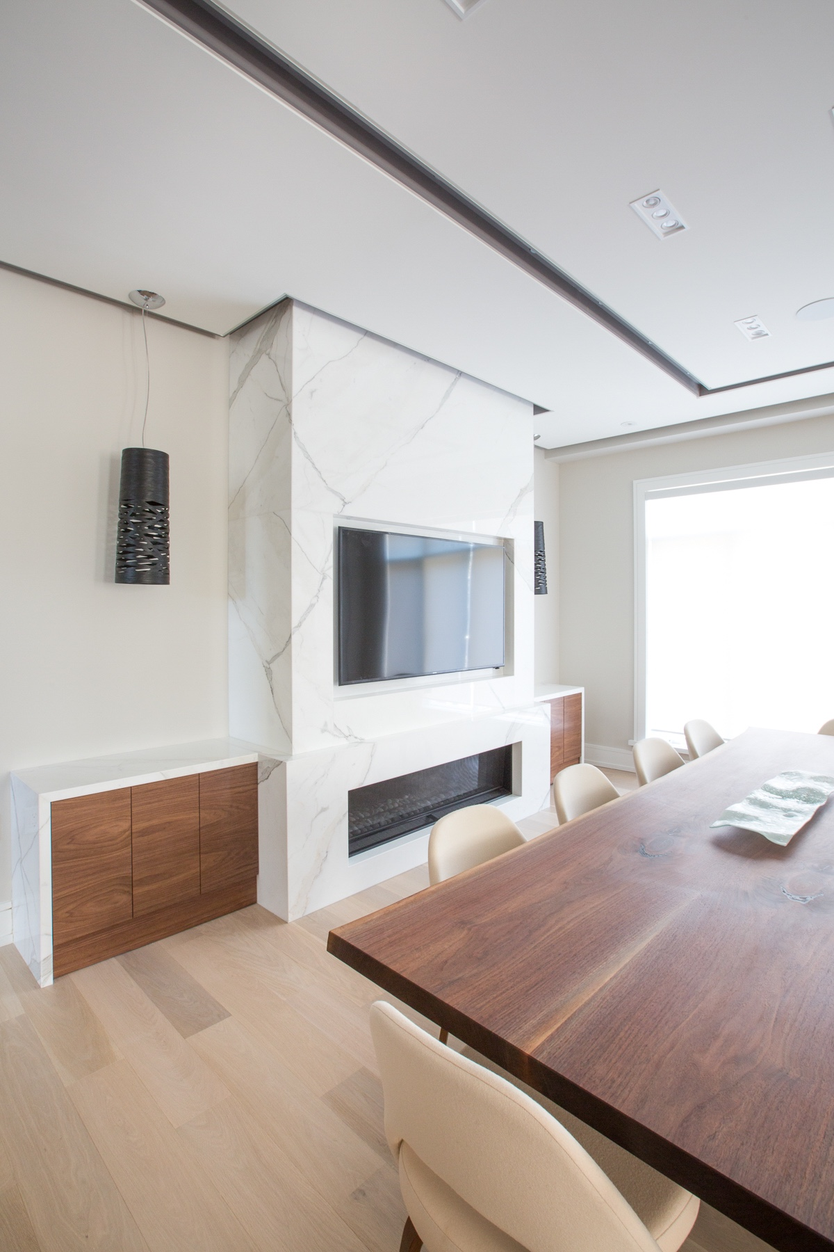 TV on marble wall