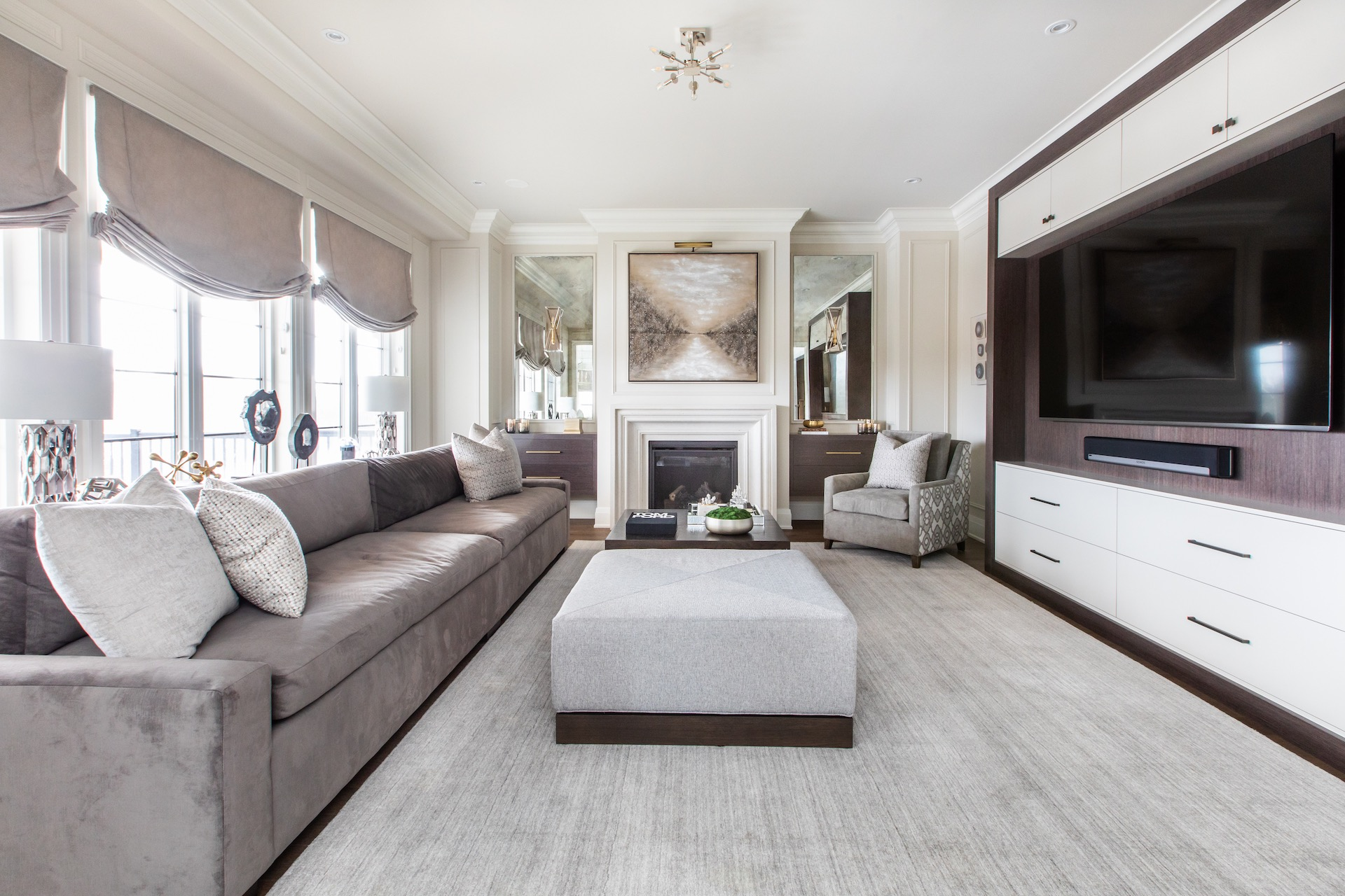 Family room with couch and tv