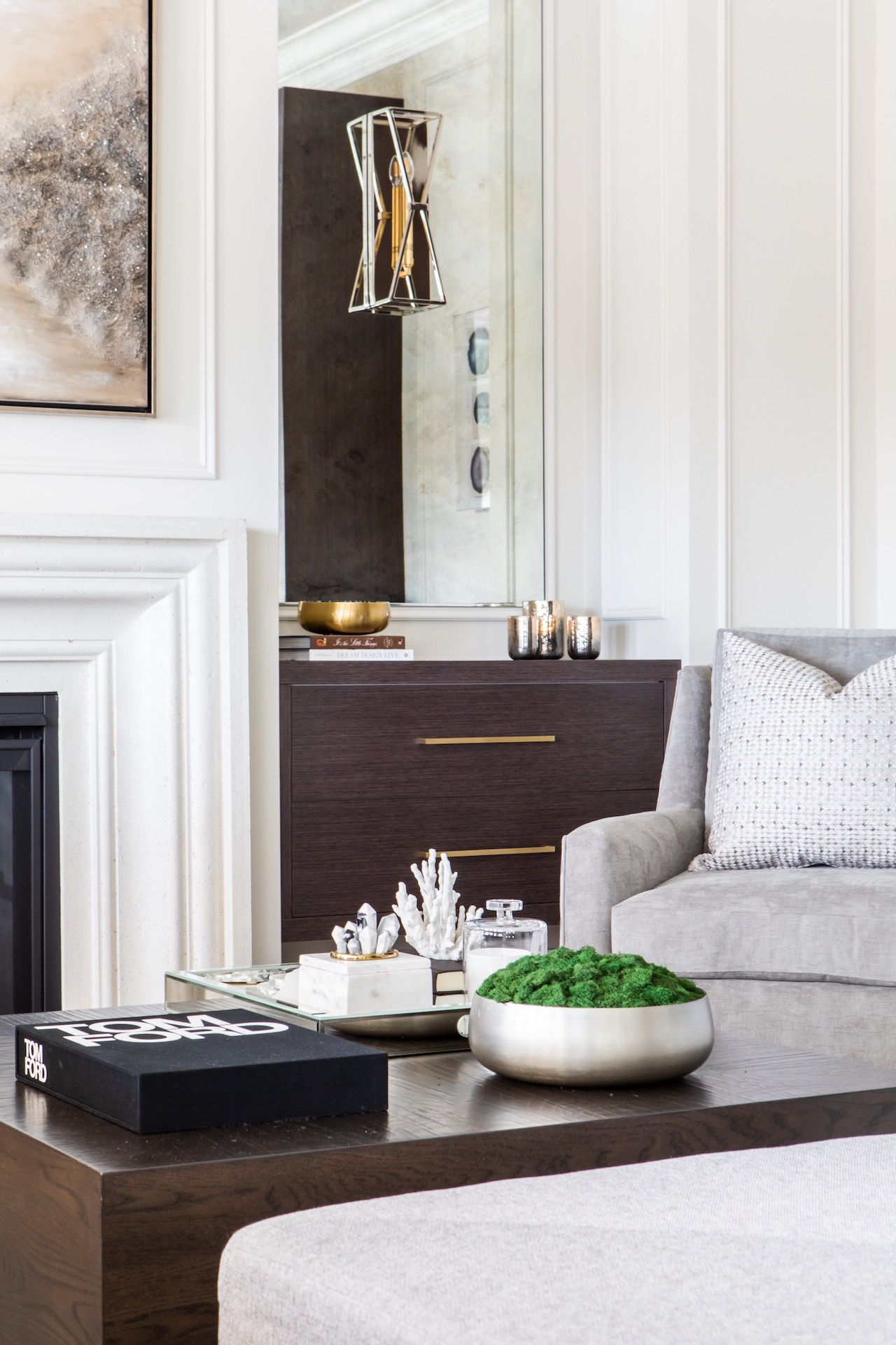 fireplace with coffee table