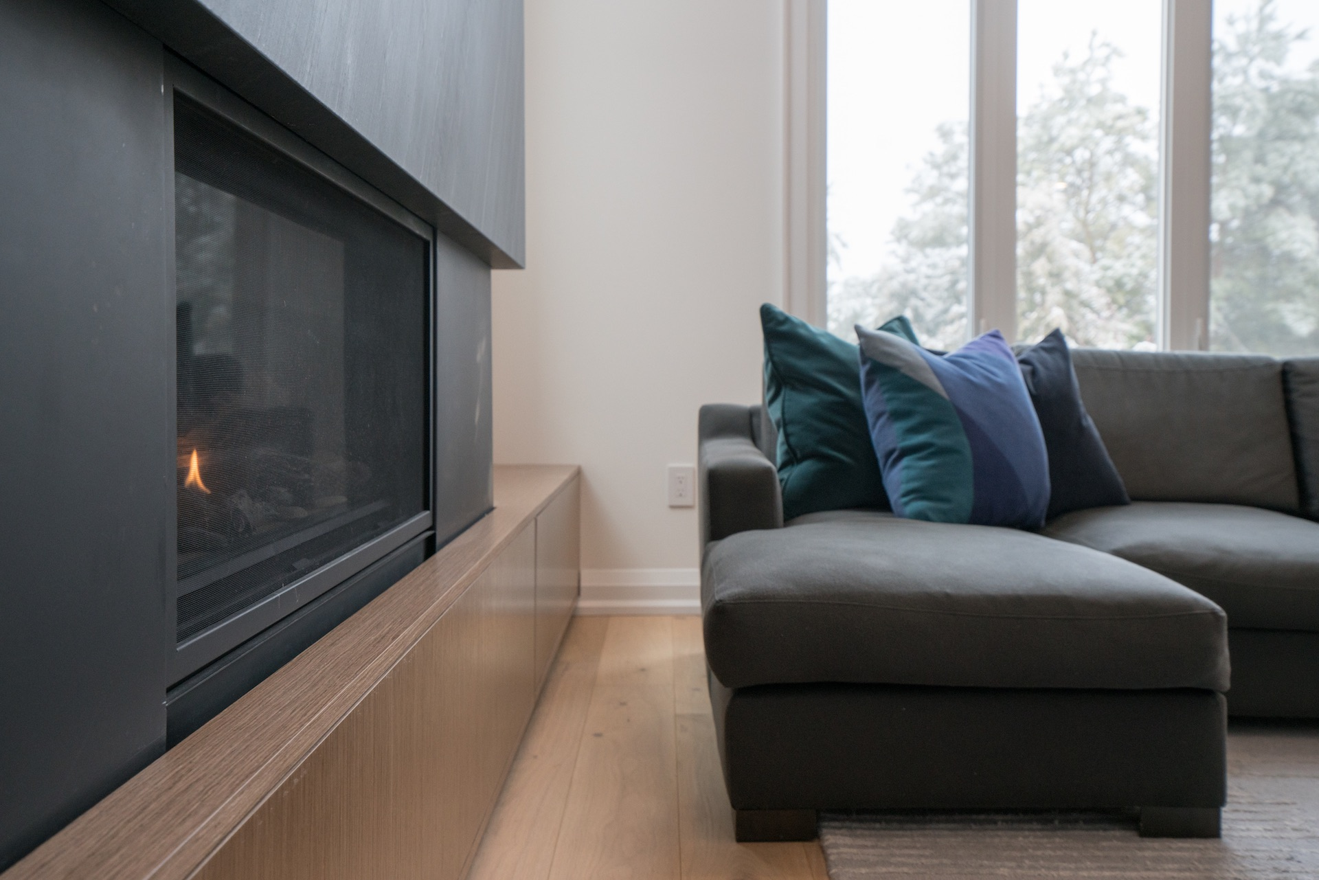 couch and fireplace
