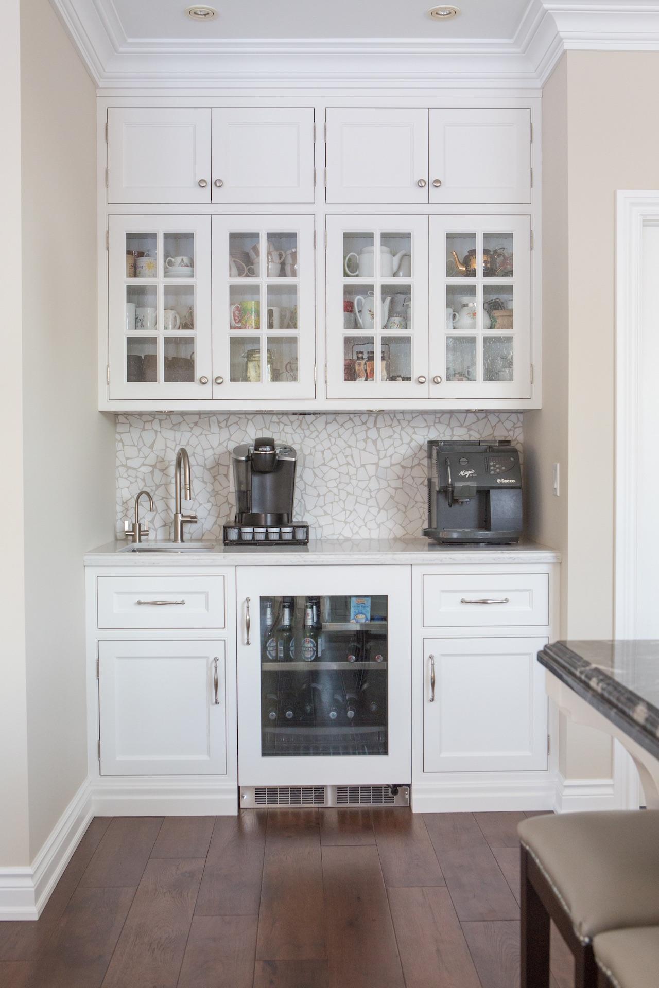 Kitchen cabinets with mini fridge