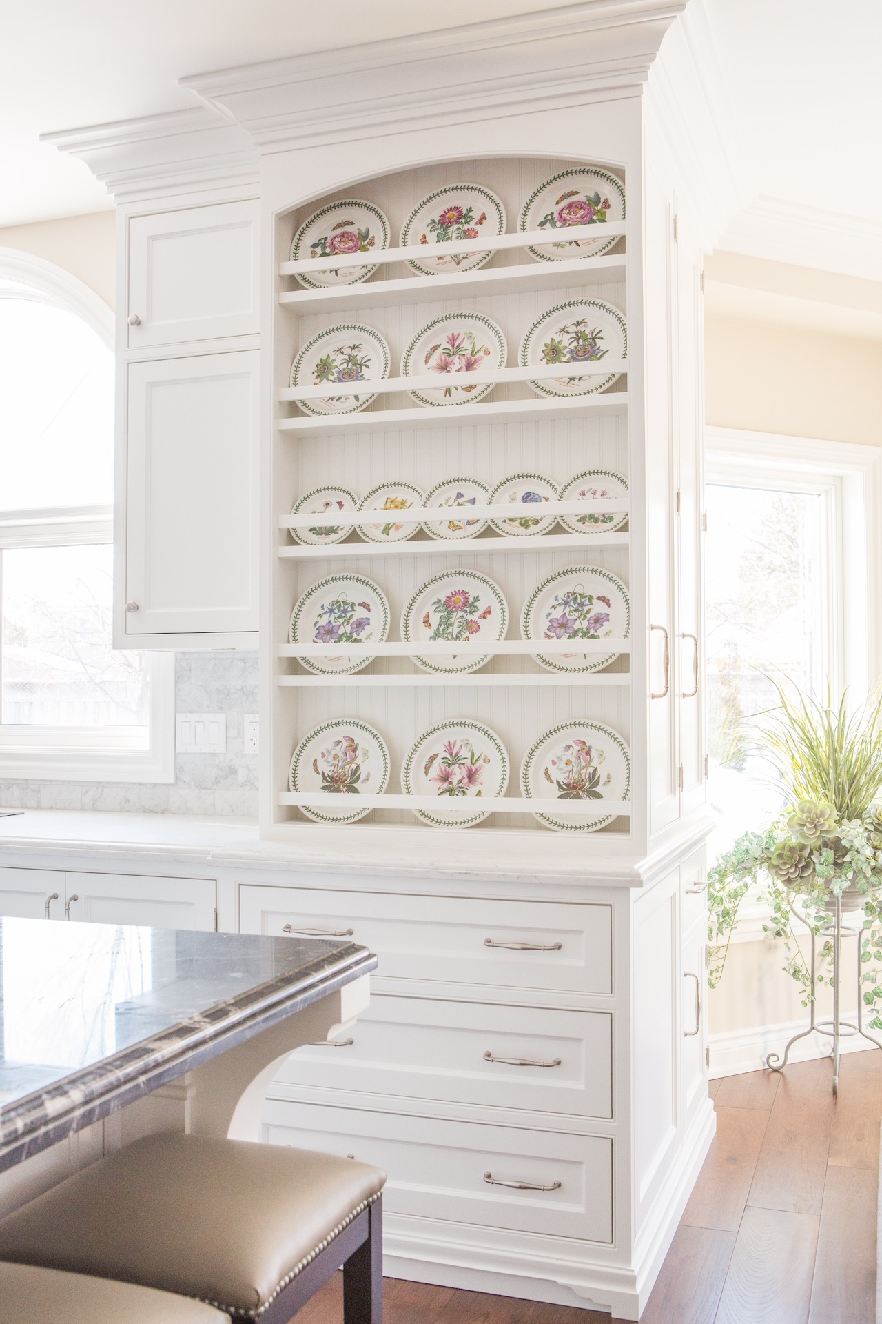 kitchen shelves with plates