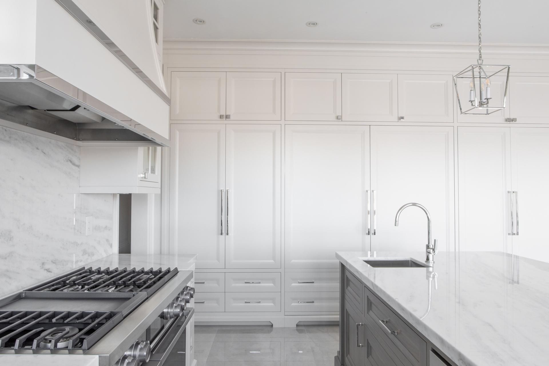 Stove, island and cabinets
