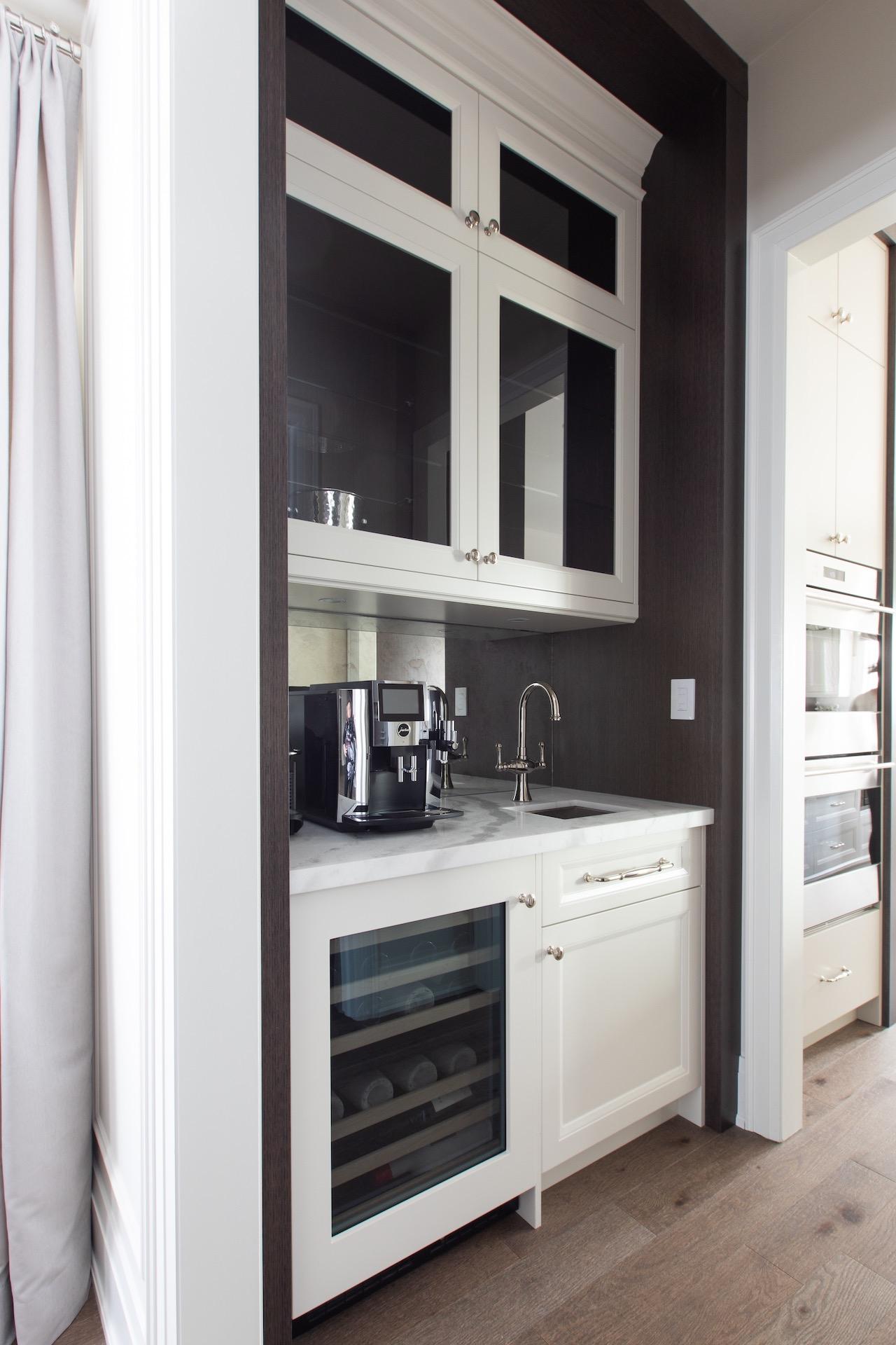 side kitchen bar with mini fridge