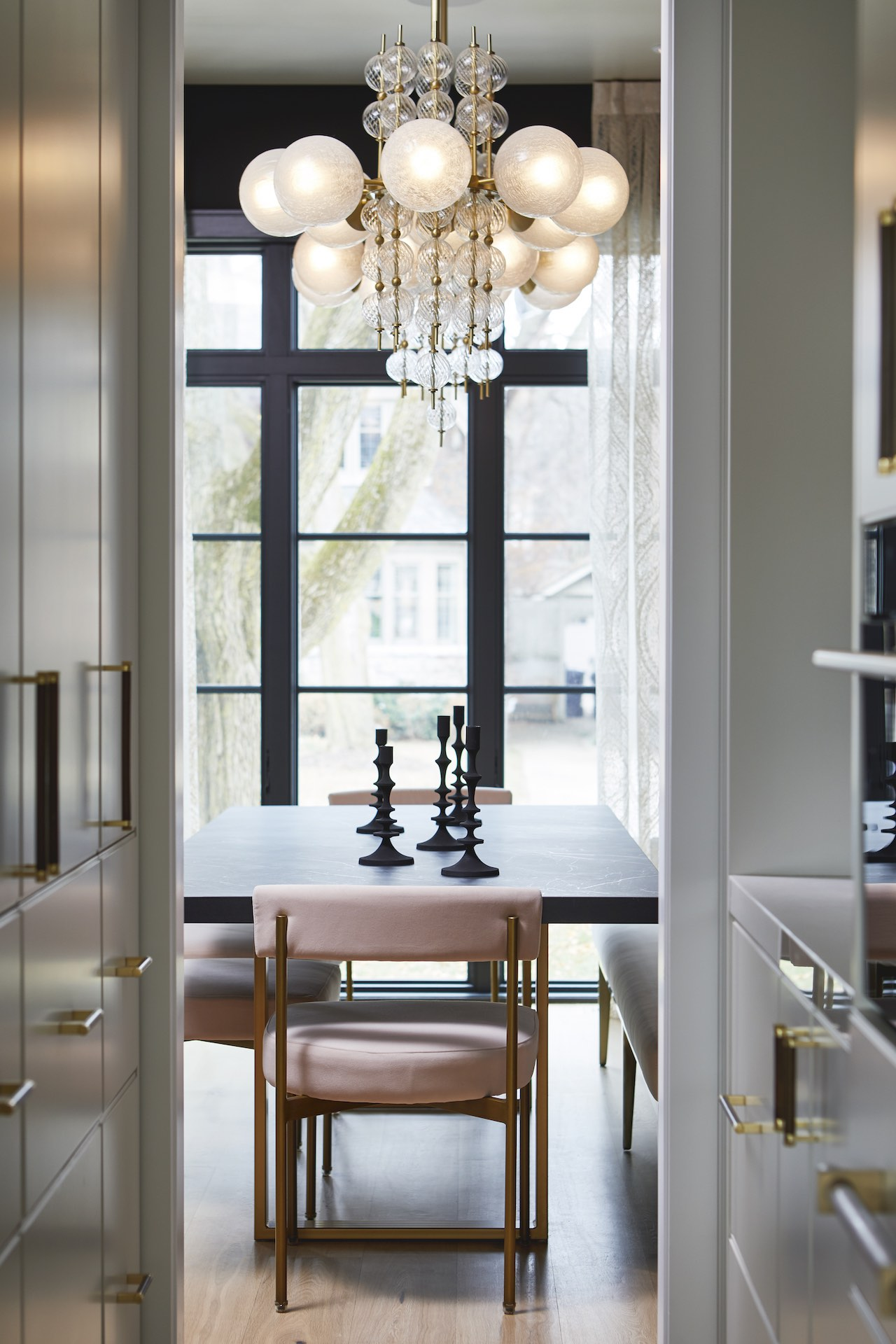 dinning table and chairs with light fixture