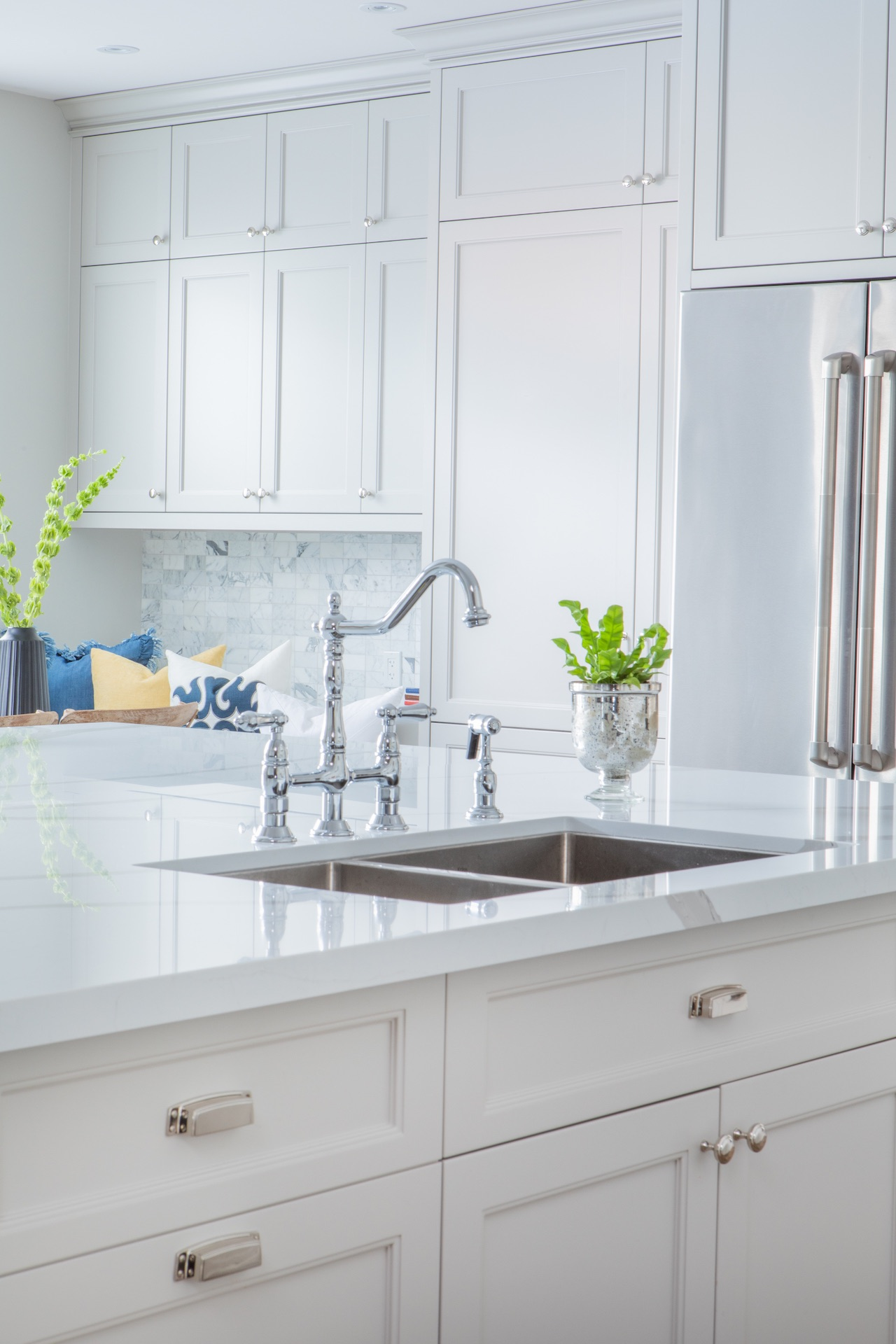 white kitchen with silver sink