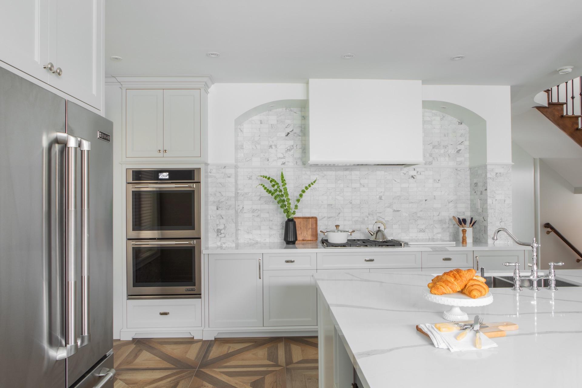 white kitchen with wood floor