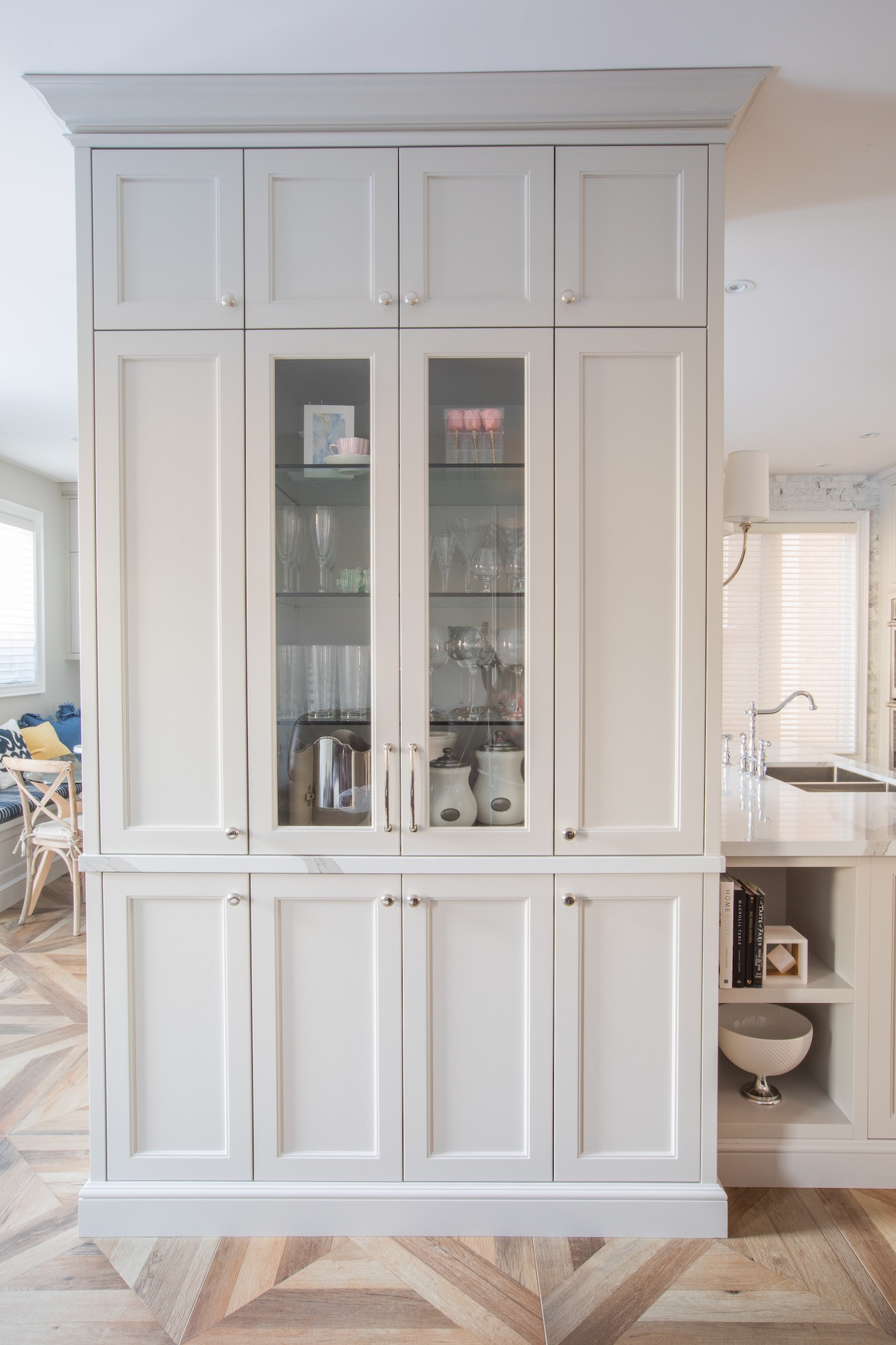 tall white cabinets