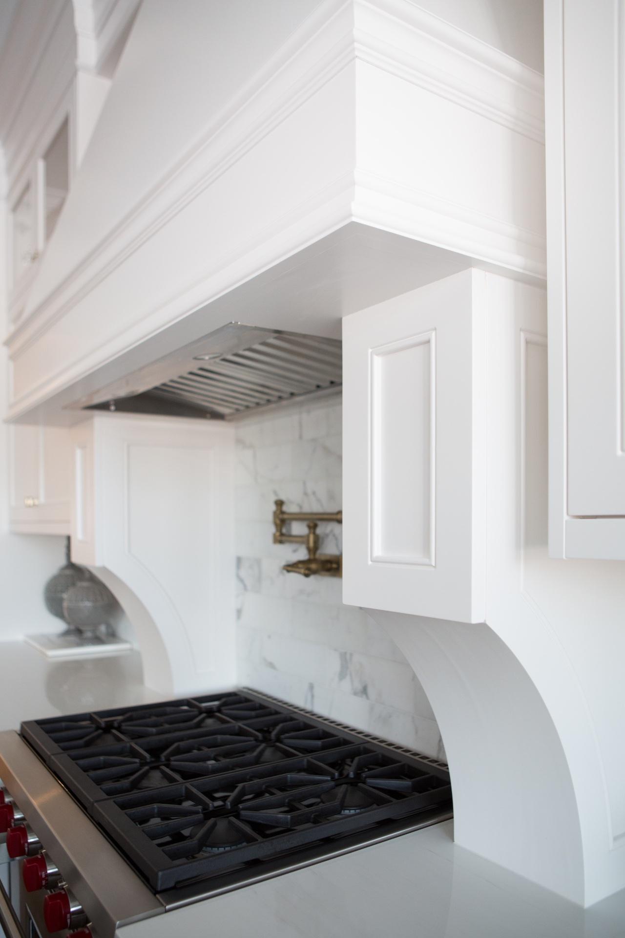 stove with wood hood fan