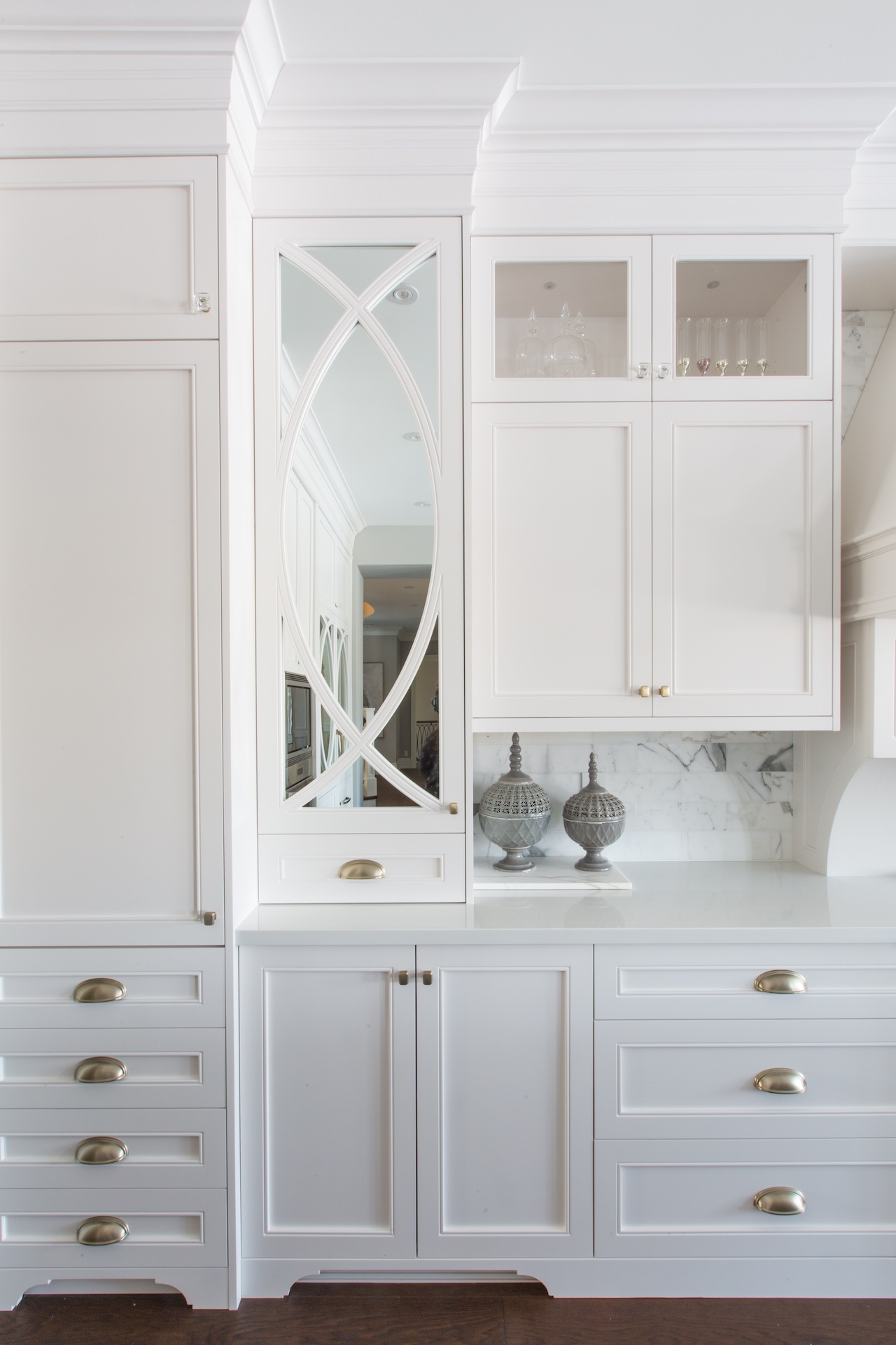 white cabinets and drawers