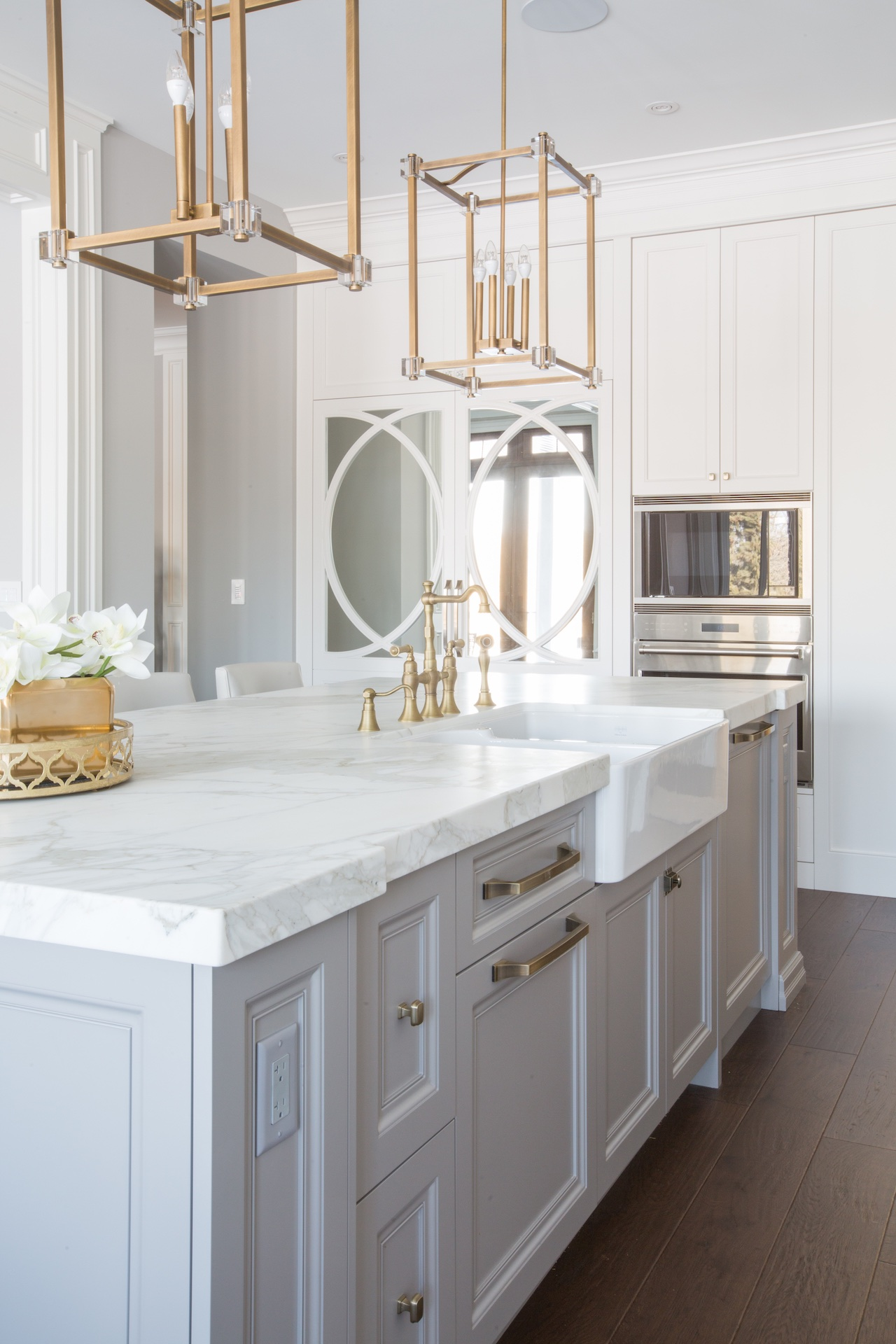 white island with gold hardware