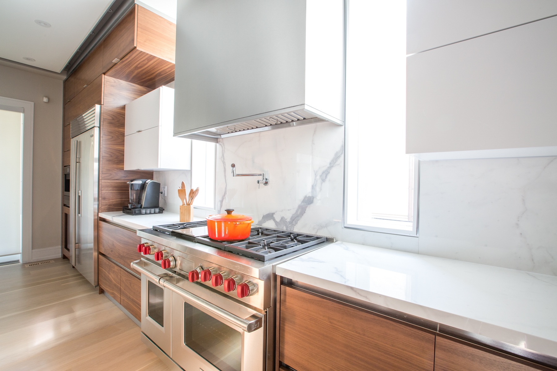 wood contemporary kitchen and stove