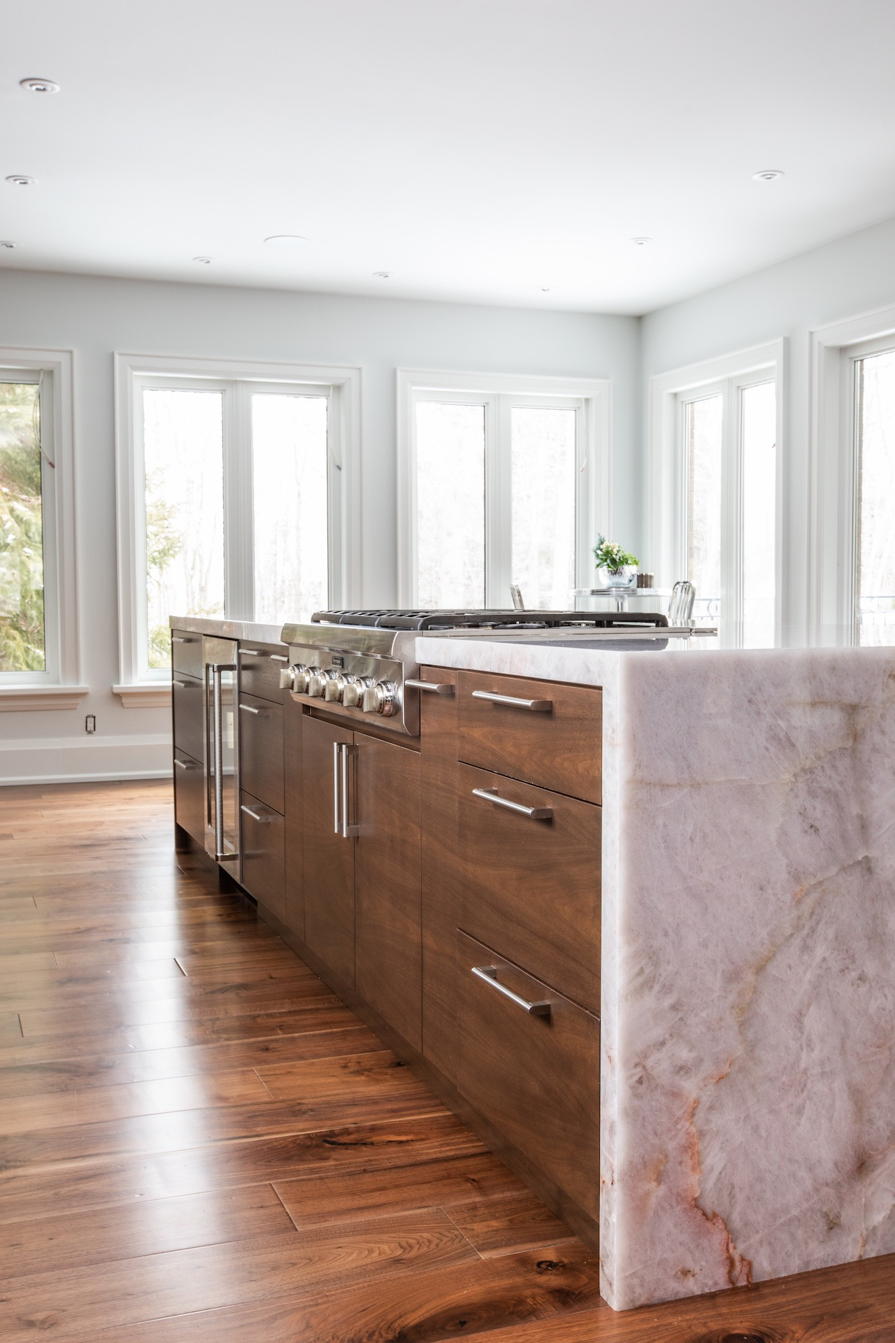 Wood kitchen island with stone top