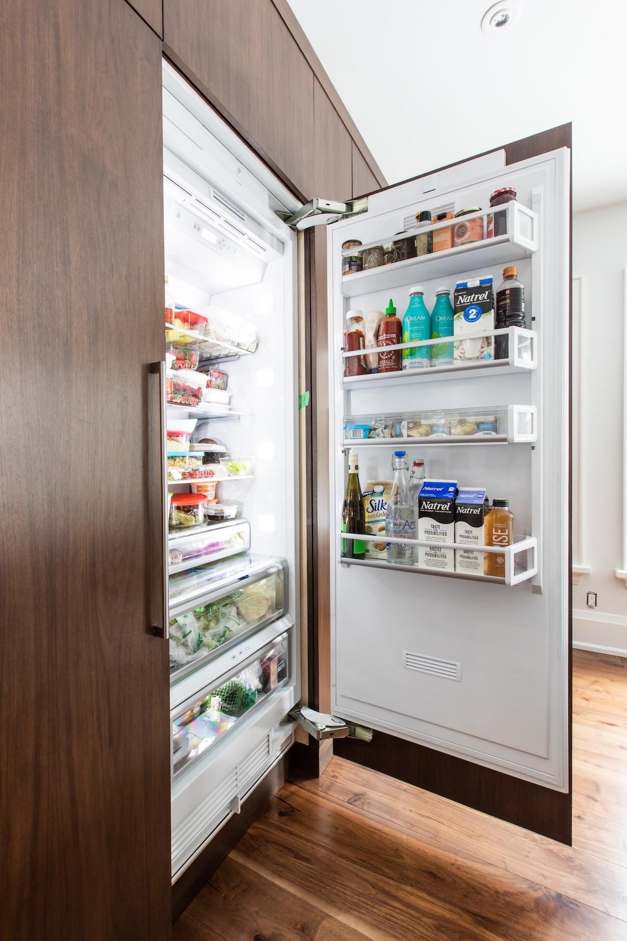 wood with fridge open