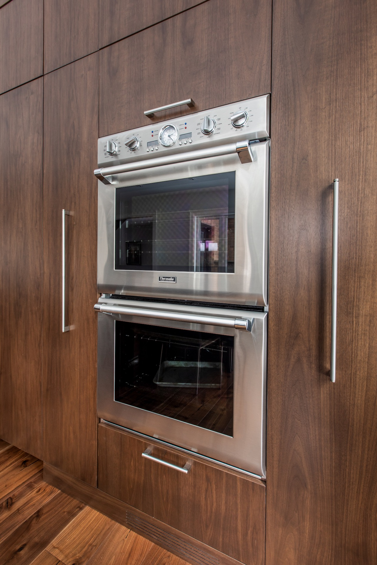Wood cabinets with ovens