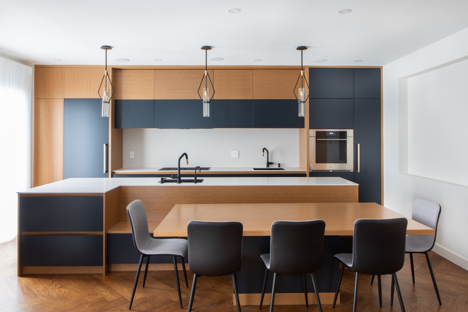 Natural wood and blue contemporary kitchen