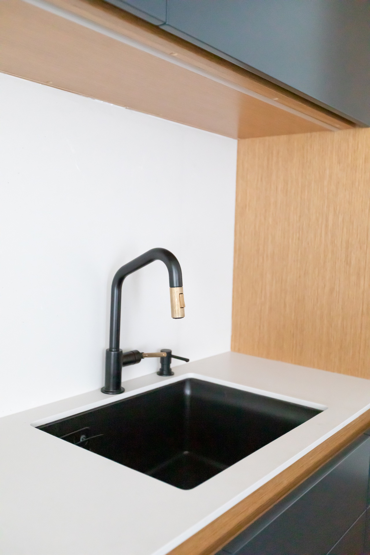 Back sink and black faucet